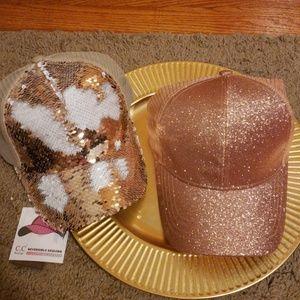 New CC BEANIE PONYTAIL SPARKLE Rose Gold HAT